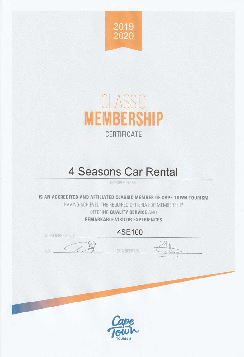 4 Seasons Car Rental member Cape Town Tourism